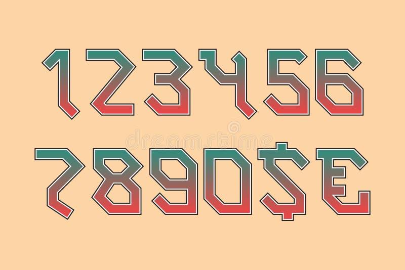 Números angulares del eje de balancín con las muestras de moneda del dólar y del euro Símbolos de la pendiente con el ribete negr stock de ilustración