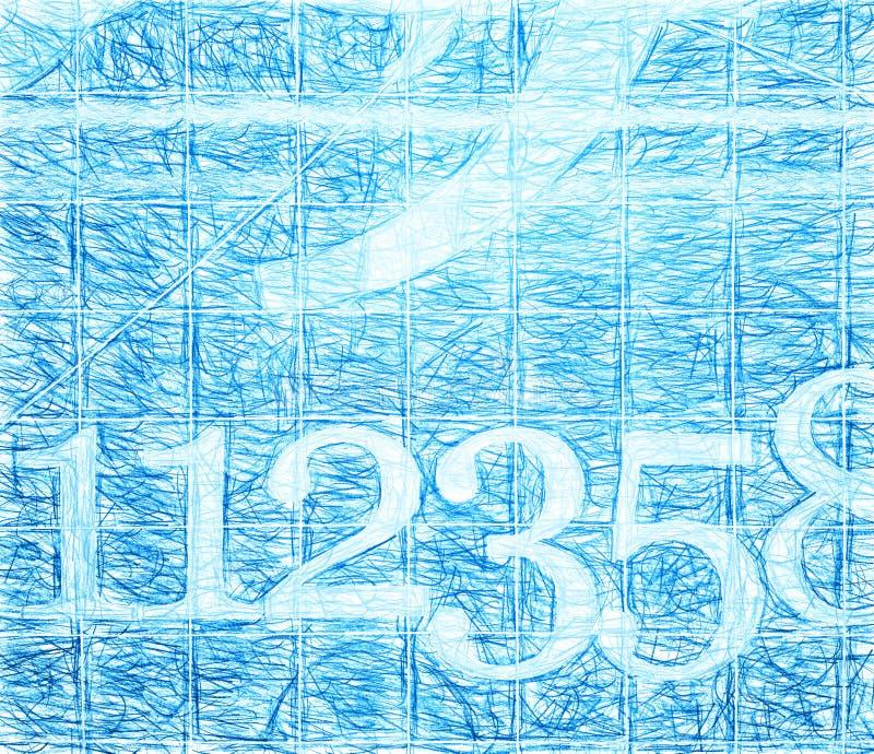 Números azuis da escola escritos com fundo da ilustração do lápis ilustração stock