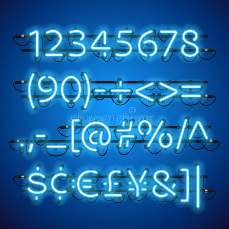 Números azuis de néon de incandescência ilustração stock