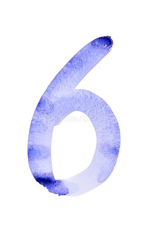 Números azules de la acuarela stock de ilustración