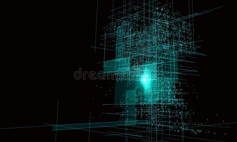Números binários consistindo de um projeto gráfico do arranha-céus ilustração do vetor