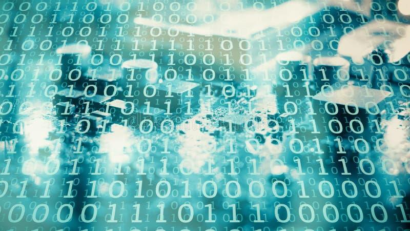 Números binarios del lenguaje de programación, trabajando en red asegurada foto de archivo libre de regalías