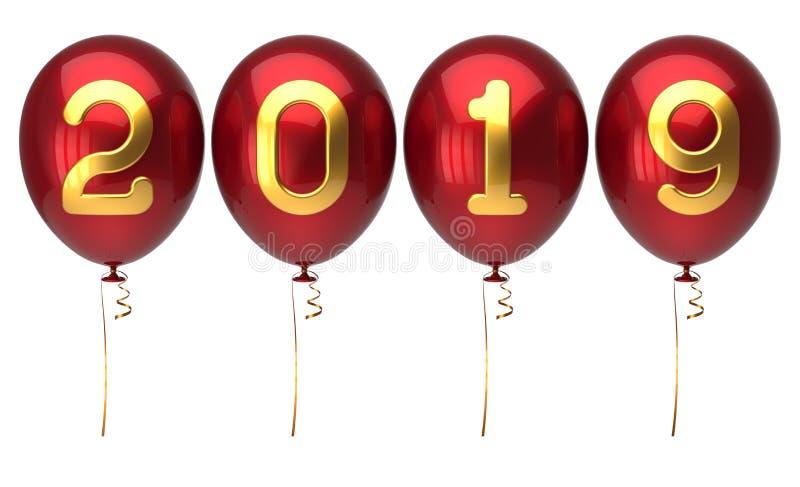 Números brillantes de oro rojos de los globos del día de Año Nuevo 2019 ilustración del vector