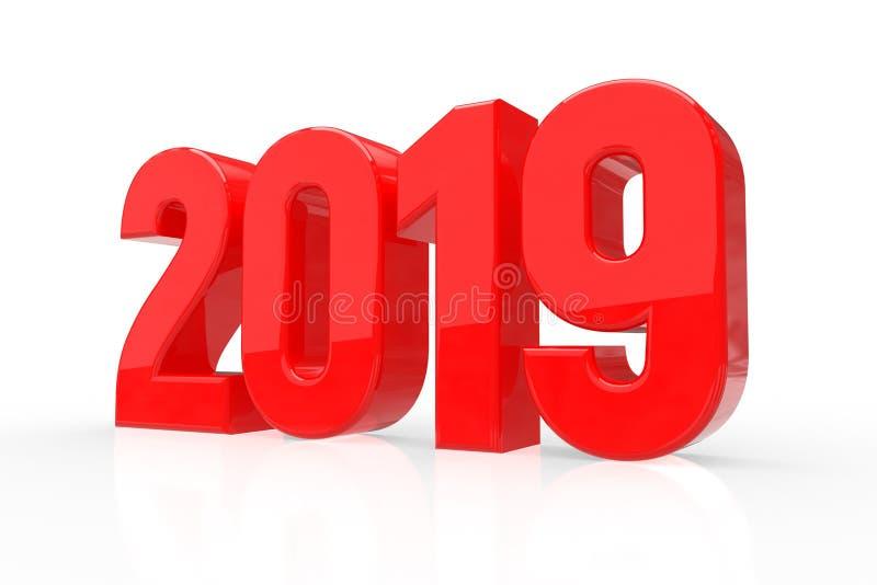 2019 números brillantes rojos aislados en el fondo blanco Feliz Año Nuevo 2019 ilustración 3D ilustración del vector