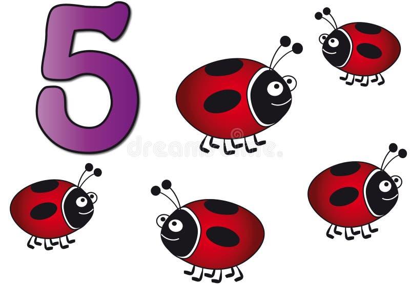 Números: cinco ilustración del vector