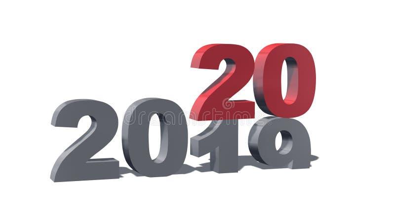 Números coloreados 3D del Año Nuevo a partir de 2019 a 2020 - con la sombra stock de ilustración