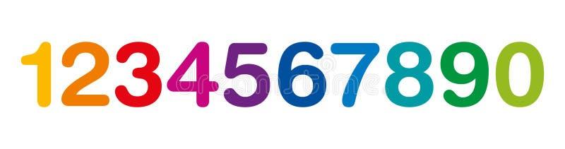 Números coloridos arco-íris de um a zero ilustração do vetor