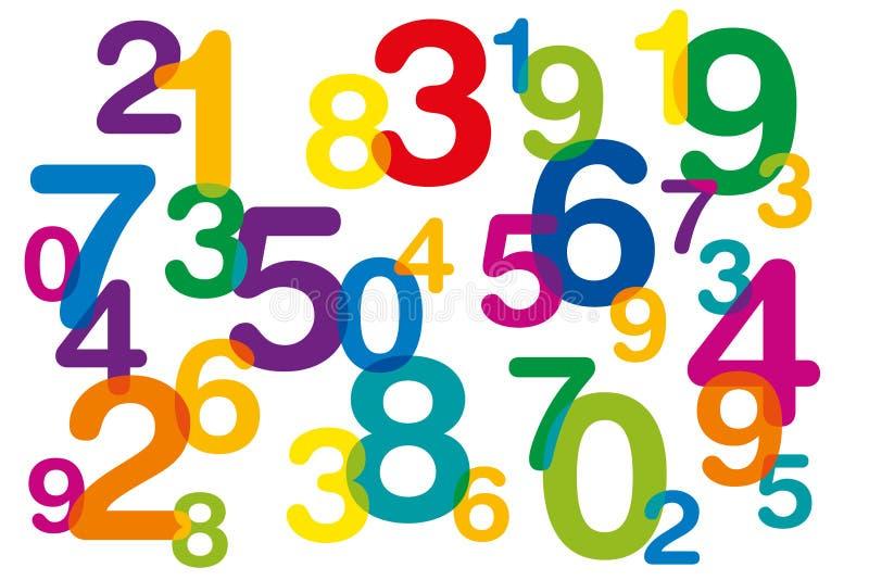 Números coloridos de flutuação e de sobreposição ilustração do vetor