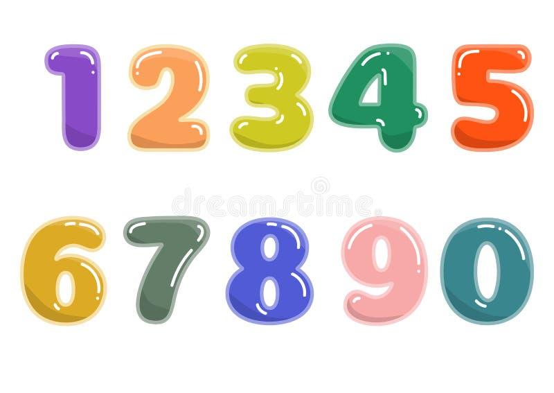 Números coloridos de la historieta en el fondo blanco foto de archivo
