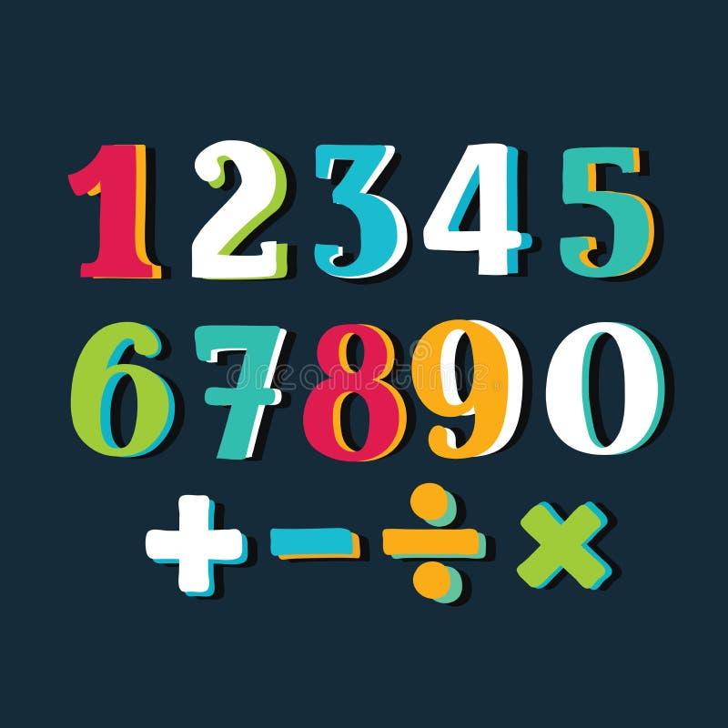Números coloridos engraçados ajustados no fundo branco Ilustração do vetor ilustração stock