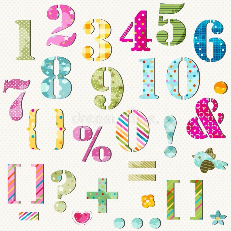Números coloridos fijados ilustración del vector