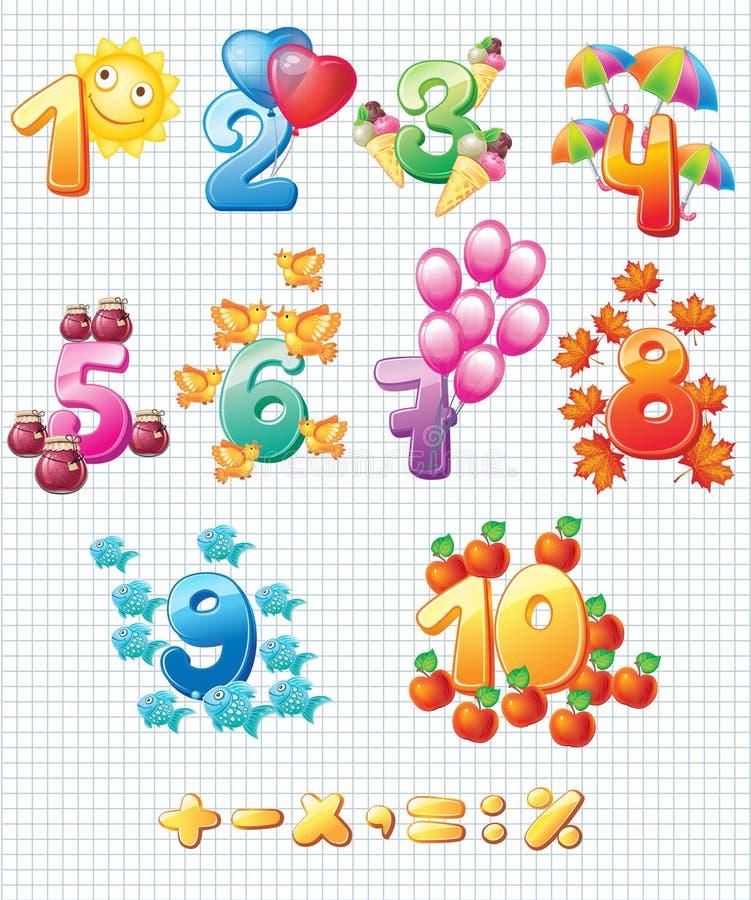 Números coloridos para crianças ilustração royalty free