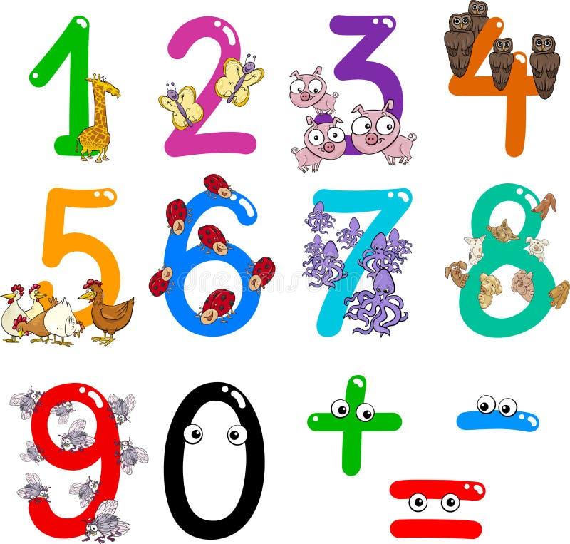 Números com animais dos desenhos animados ilustração do vetor