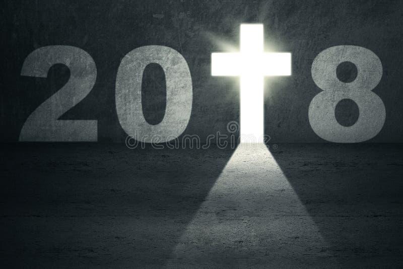 Números 2018 com um crucifixo brilhante ilustração royalty free