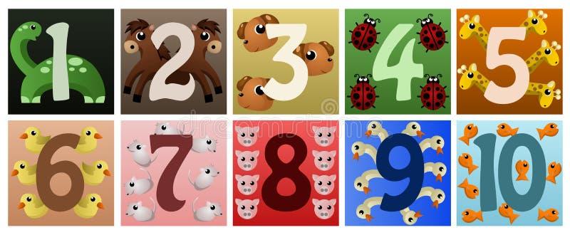 Números con los animales lindos ilustración del vector