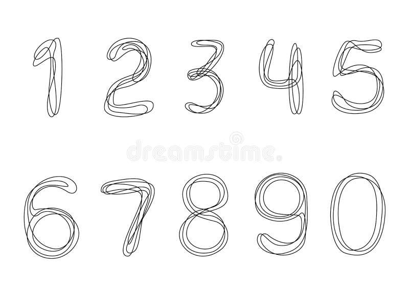 Números continuos de un dibujo lineal de 0 a 9 stock de ilustración