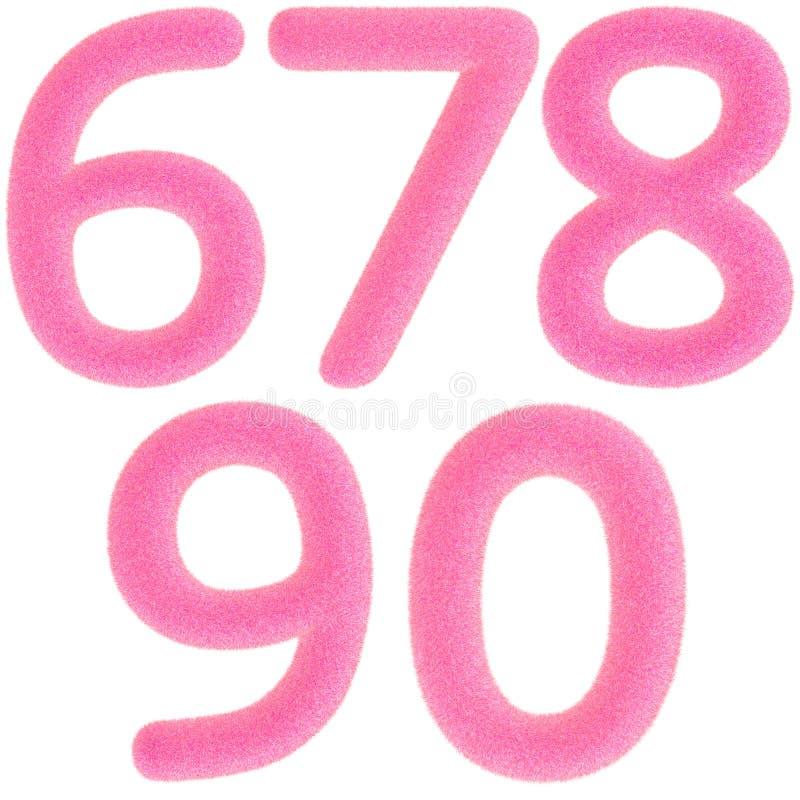 Números cor-de-rosa peludos ilustração royalty free