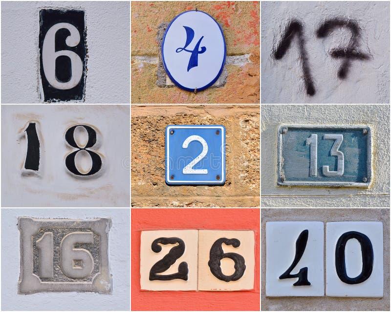 Números da casa diferentes fotografia de stock