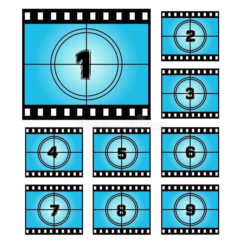 Números da contagem regressiva da tela do filme ilustração do vetor