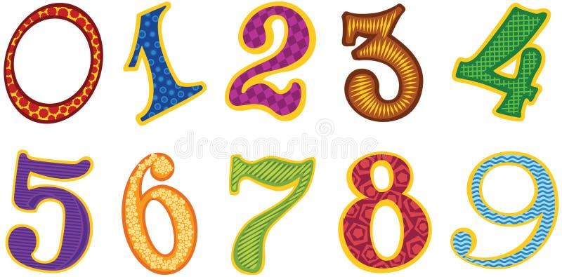 Números da cor dos desenhos animados ilustração do vetor