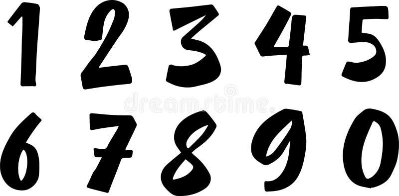 Números da escova lettering Caligrafia moderna, letra escrita à mão ilustração do vetor