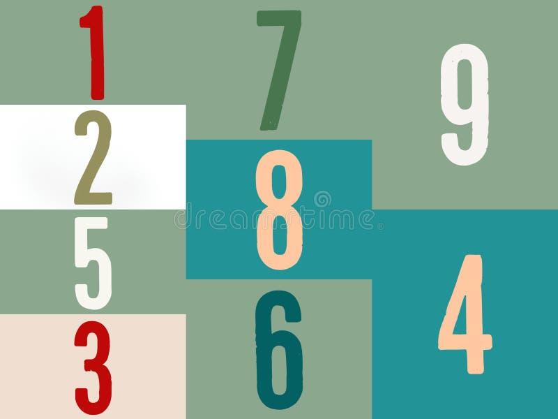 Números da matemática em multicolorido em um histórico completo da cor ilustração stock