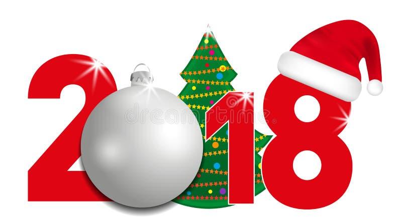 números de 2018 años con la bola del árbol de navidad y de la plata y el sombrero de Papá Noel en un fondo blanco Año Nuevo y ele ilustración del vector