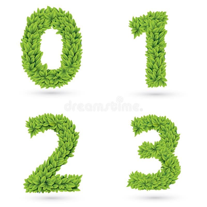 Números de coleção verde das folhas ilustração stock
