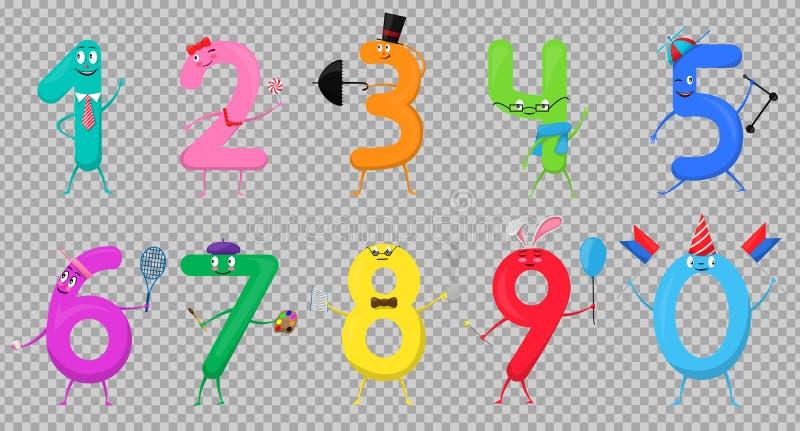 Números de colección coloridos de la diversión linda bajo la forma de diversos personajes de dibujos animados para los niños Ilus stock de ilustración