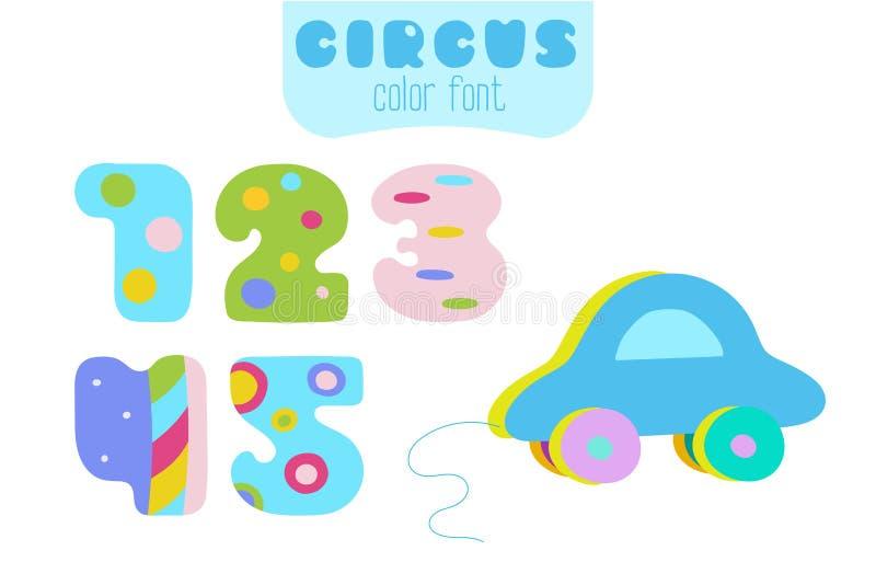 Números de estilo 1, 2, 3, 4, 5 y coche azul de la historieta del juguete libre illustration