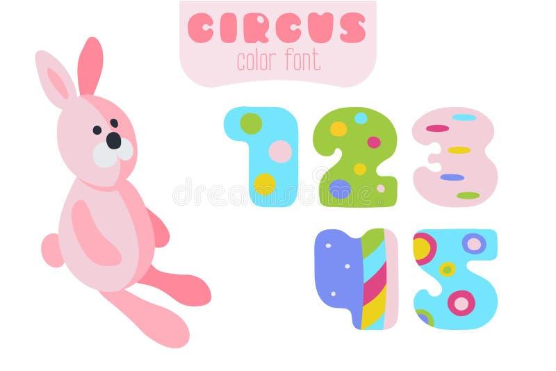 Números de estilo 1, 2, 3, 4, 5 y conejo rosado de la historieta ilustración del vector