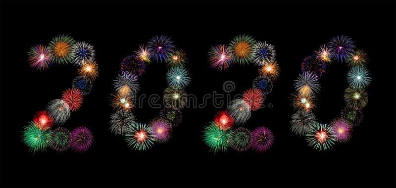 Números de 2020 feitos de fogos de artifício coloridos em algarismos árabes para o conceito de celebração do novo ano imagens de stock royalty free