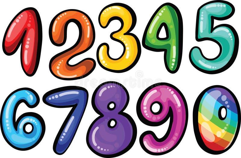 Números de fonte da criança da cor dos doces dos desenhos animados ilustração do vetor