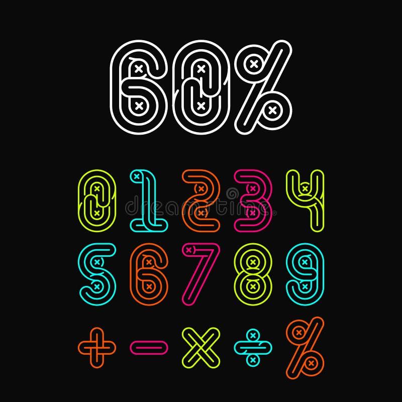 Números de fontes alfabéticos ajustados ilustração do vetor