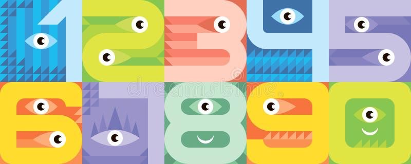Números de fuente del monstruo libre illustration