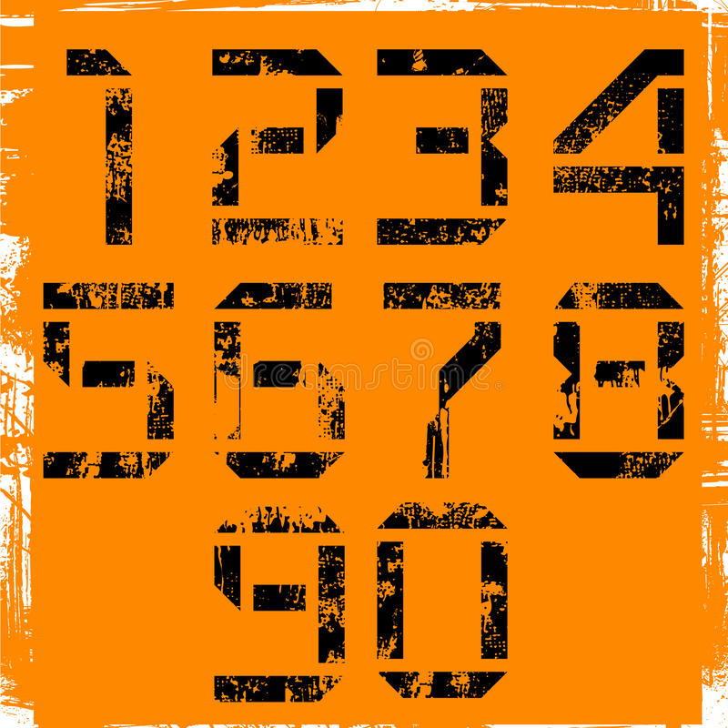 Números de Grunge ilustração stock