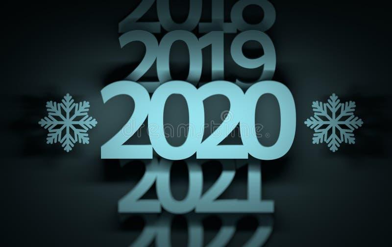 Números 2019 de la evolución del año 2020 2021 ilustración del vector