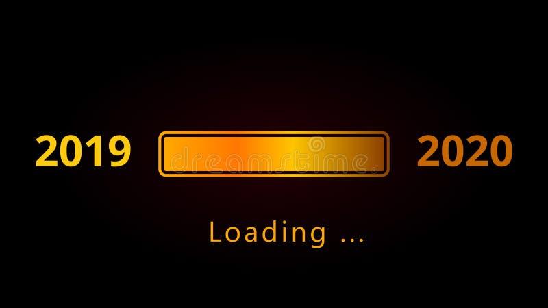 Números de la Feliz Año Nuevo 2020 con la barra y el texto de oro de carga brillante aislados en fondo negro stock de ilustración
