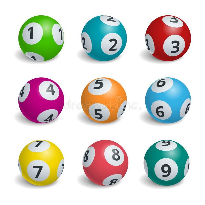 Números de la lotería de la bola Ejemplo del concepto de la suerte del juego del bingo de la loteria stock de ilustración