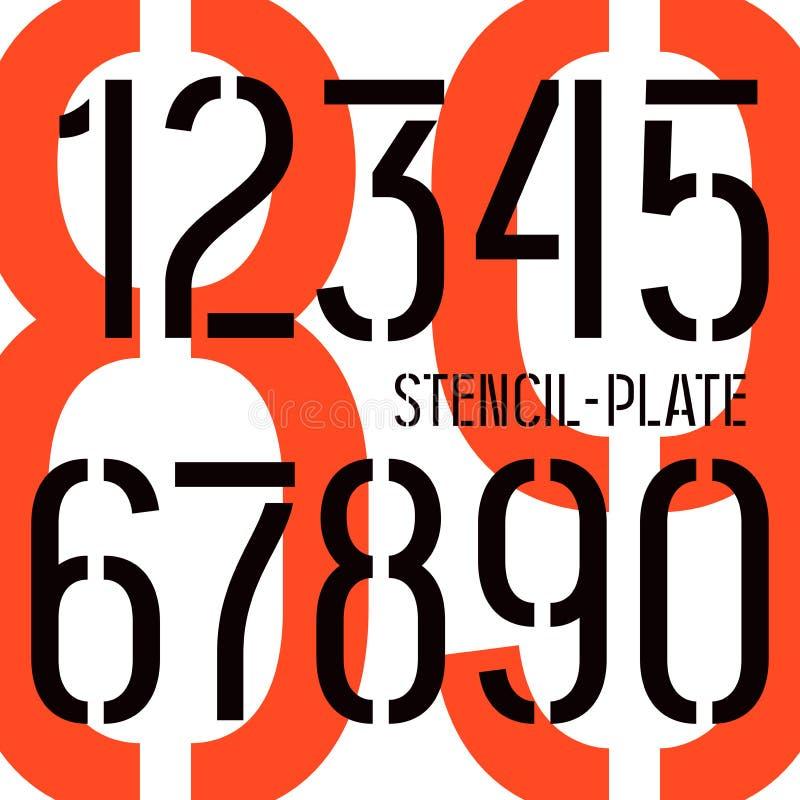 números de la Plantilla-placa en estilo militar stock de ilustración