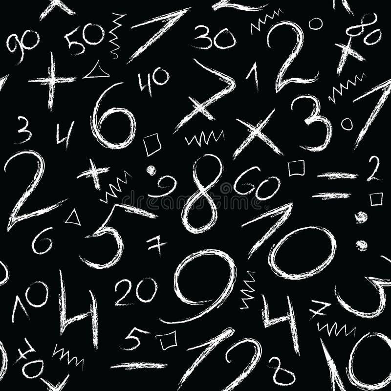 Números de la tiza del Grunge Modelo inconsútil texturizado escrito mano Haga libre illustration