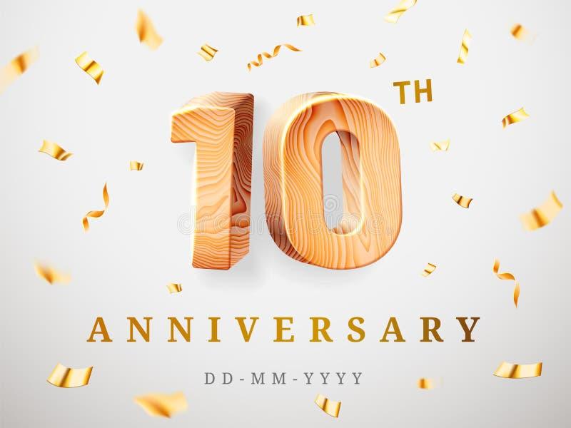 10 números de madera del oro del aniversario con confeti de oro El 10mo aniversario de la celebración, numera una y cero plantill ilustración del vector
