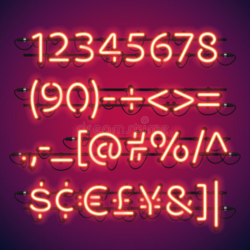 Números de néon de incandescência da barra ilustração do vetor