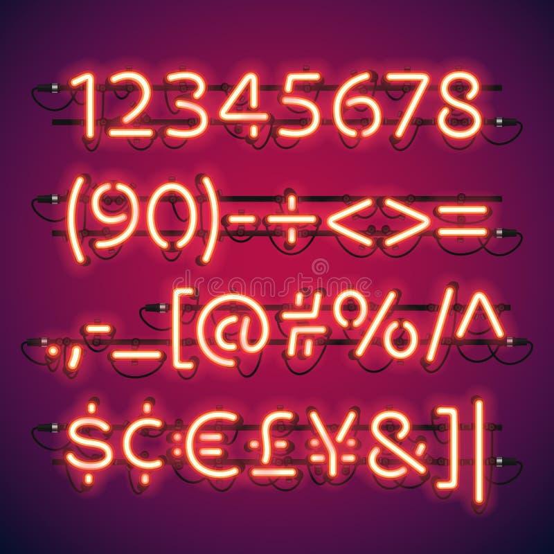 Números de neón de la barra que brillan intensamente ilustración del vector
