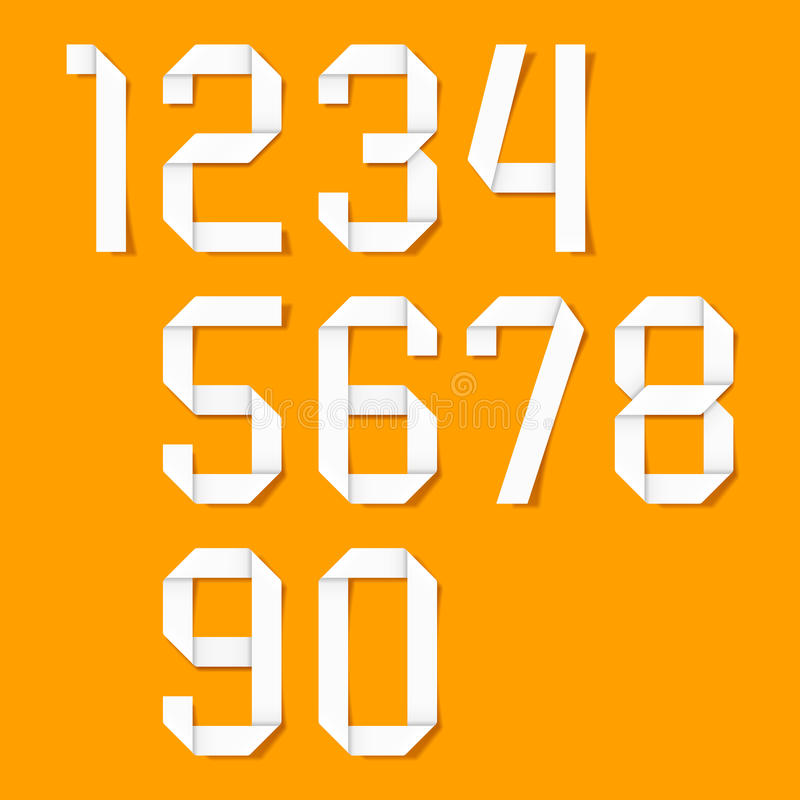 Números de Origami ajustados ilustração stock