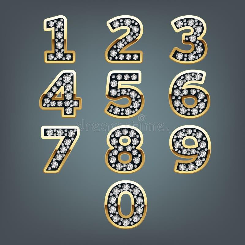 Números de oro con los diamantes ilustración del vector