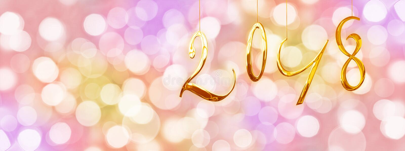 2018 números de oro, fondo colorido del día de fiesta con las luces borrosas foto de archivo