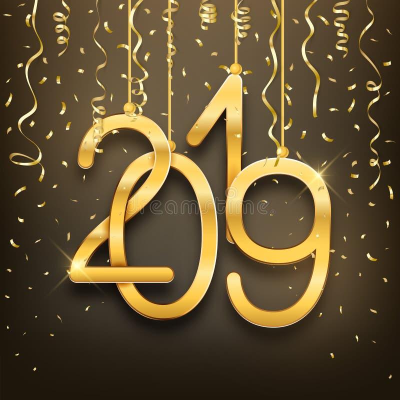 Números de oro realistas 2019 y confeti de la postal de la Feliz Año Nuevo ilustración del vector