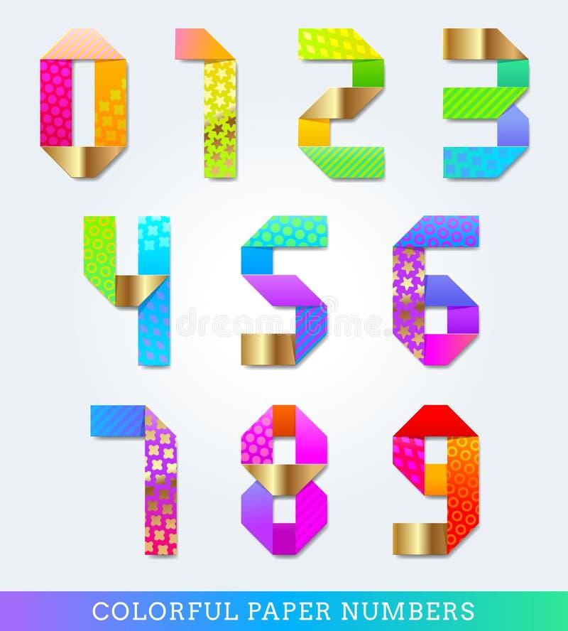 Números de papel coloridos ilustração royalty free