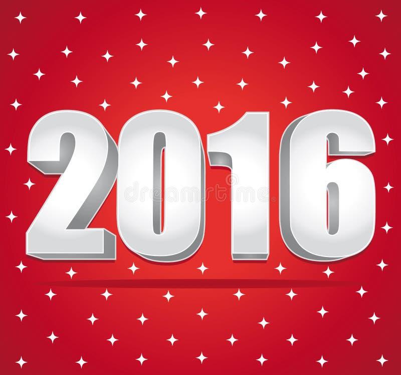 2016 números de plata en un fondo estrellado rojo Feliz Año Nuevo ilustración del vector